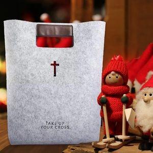 "Handbags - New wool felt bible tote bag ""take up your cross"""